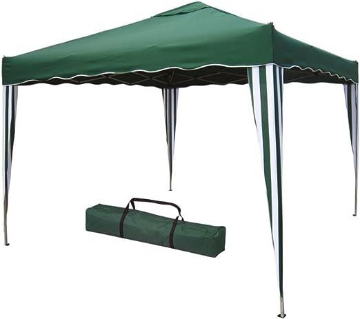 Verdelook - Cenador plegable de metal con cubierta de poliéster, 3 x 3 m, verde: Amazon.es: Jardín