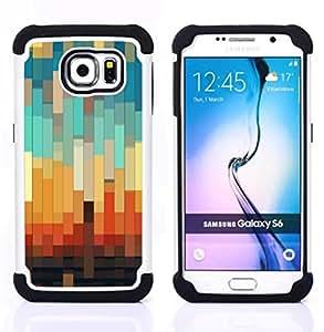 - 3d teal pastel orange brown/ H??brido 3in1 Deluxe Impreso duro Soft Alto Impacto caja de la armadura Defender - SHIMIN CAO - For Samsung Galaxy S6 G9200