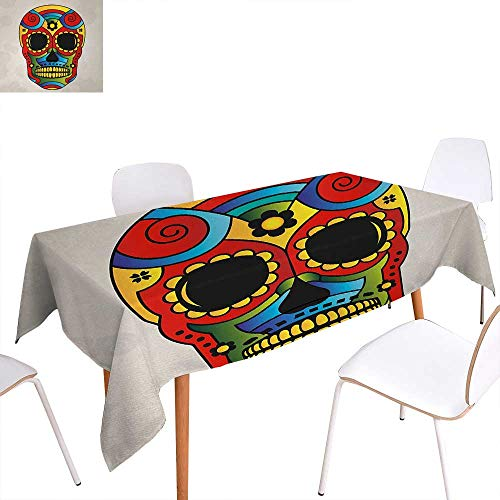 Warm Family Sugar Skull Washable Tablecloth Vibrant Colored Figure Macabre Mexico Latin Tradition Mythical Religious Art Waterproof Tablecloths 70