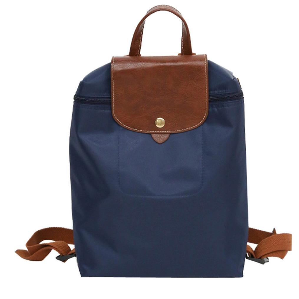 Mini Backpack Purse ❤️ Inkach Fashion Womens Nylon School Rucksack Folding Travel Shoulder Bags (Blue)