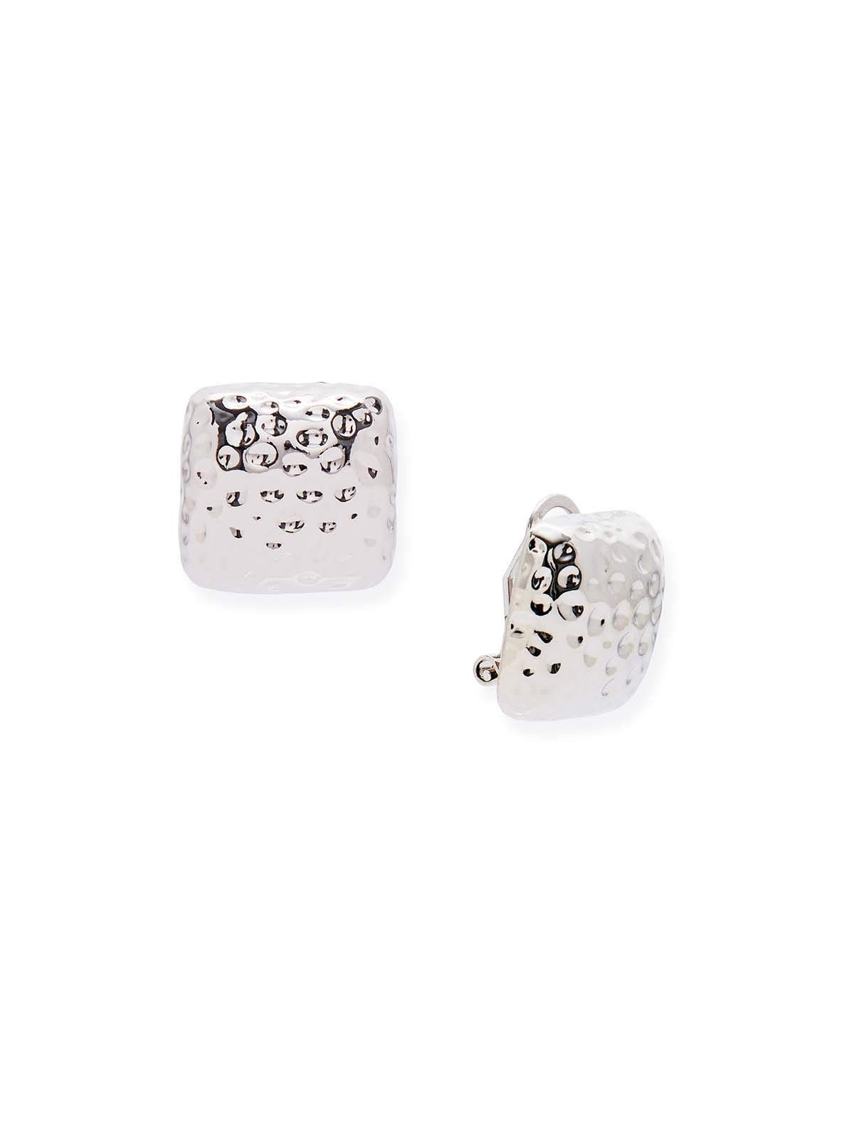 Silver Tone Hammered Square Clip On Earrings by Misook