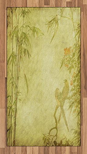 Ambesonne Bamboo Area Rug, Silhouettes of Birds on the Branch and Bamboo Stems Twig Retro Inspired Wild Life Theme, Flat Woven Accent Rug for Living Room Bedroom Dining Room, 2.6 x 5 FT, Green (Bamboo Branch)