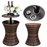 HomGarden Cool Bar Rattan Style Outdoor Patio Cooler Table with Ice Bucket Cocktail Coffee Cooler Table All in One for Party, Pool, Patio, Deck, Backyard