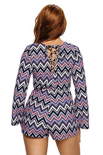 Nouvelle Femme Multi Couleur Zigzag Imprimer Grenouillère combinaison Combinaison Club Wear Plage Porter Taille S 8–10EU 36–38