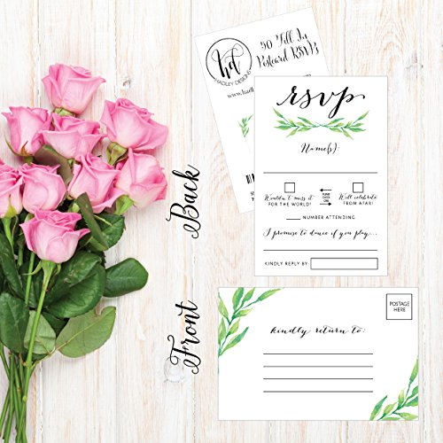 50-Floral-RSVP-Cards-RSVP-Postcards-No-Envelopes-Needed-Response-Card-Blank-RSVP-Reply-RSVP-for-Wedding-Rehearsal-Dinner-Baby-Shower-Bridal-Birthday-Engagement-Bachelorette-Party-Invitations