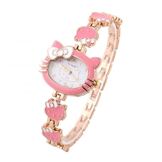 Beauty regalo 1 pieza Fashion relojes Hello Kitty Niños Reloj De Cuarzo marca King niña relojes