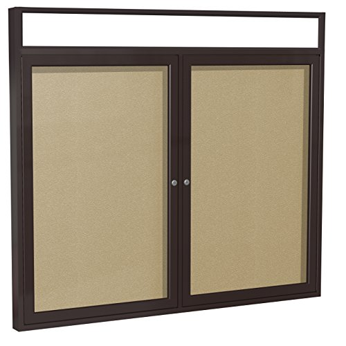 - Ghent 4 x 5 Inches Outdoor Bronze Frame Enclosed Vinyl Bulletin Board with Headliner , Caramel , Made in the USA