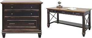 Martin Furniture Hartford Lateral File Cabinet, Brown - Fully Assembled & Furniture Hartford Writing Desk, Brown
