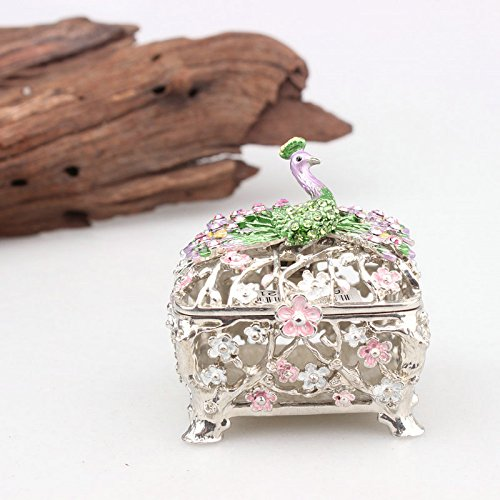 - znewlook Peacock Figurine Box Crystals Bird Jewelry Trinket Box Collectible Wedding Favour Boxes