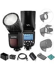 Godox V1F Professional Camera Flash Speedlite Speedlight Round Head Wireless 2.4G Compatible with Fuji Fujifilm X-Pro2 X-T20 X-T2 X-T1 GFX50S GFX50R Cameras for Wedding Portrait Studio Photography