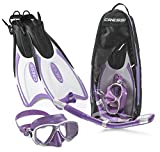 Cressi Palau Long Mask Fin Snorkel Set, Brisbane Lilac, Small/Medium