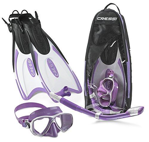 Cressi Palau Long Mask Fin Snorkel Set, Brisbane Lilac, Small/Medium