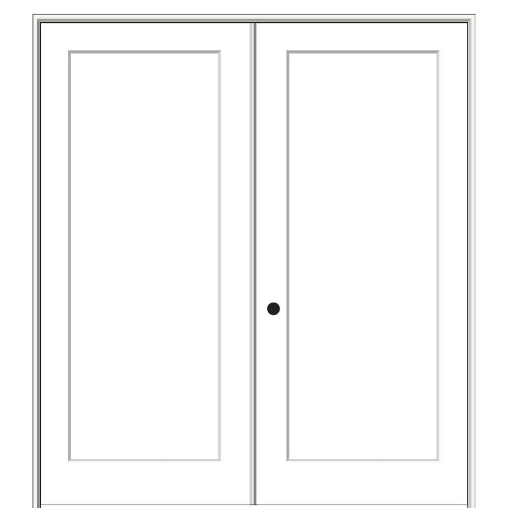 Molded MDF Craftsman 1-Panel Flat National Door Company ZZ364486A Solid Core Both Active on 4-9//16 Jamb Prehung Interior Double Door Non Handed 56X80 80 Height