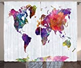Ambesonne Watercolor Curtains, Multicolored Hand Drawn World Map Asia Europe Africa America Geography Print, Living Room Bedroom Window Drapes 2 Panel Set, 108 W X 84 L inches, Multicolor