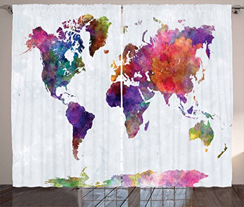 "Ambesonne Watercolor Curtains, Multicolored Hand Drawn World Map Asia Europe Africa America Geography Print, Living Room Bedroom Window Drapes 2 Panel Set, 108"" X 84"", Grey Purple"
