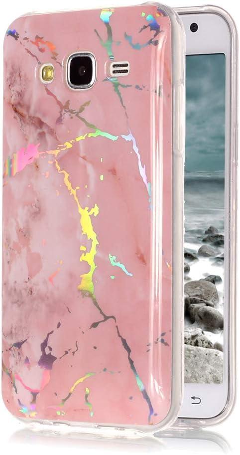 Funda Láser Colorido para Samsung Galaxy J5 2015 SM-J500F, Yunbaoz Gel Suave de TPU Carcasa Funda Cambio Color Gradiente Patrón Multicolor Ligero Transparent Case - Rosado