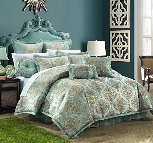 9 Piece Como Decorator Upholstery Quality Jacquard Motif Fabric Bedroom Comforter Set & Pillows Ensemble, Queen, Blue