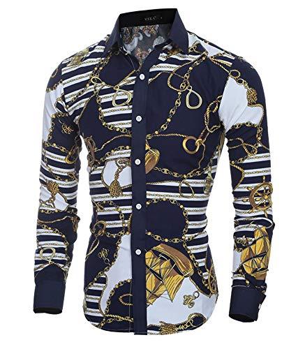 Versaces Men Shirt Fashion Classic Retro Color Slim fit Long Sleeve Shirt, Color 1, M from Versaces