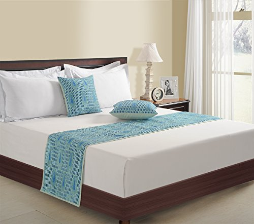 ShalinIndia Set of 1 Bed Runner and 2 Cushion Covers Aqua Blue - 18 inch by 90 inch Runner - 18 inch by 18 inch Cushion Covers - Printed Faux Silk - Touchable and Soft - Colors to Match Any Decor (And Sets Runners Cushion Bed)