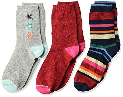 Gymboree Girls' Big 3-Pack Crew Socks, red/Grey Star Holiday, -
