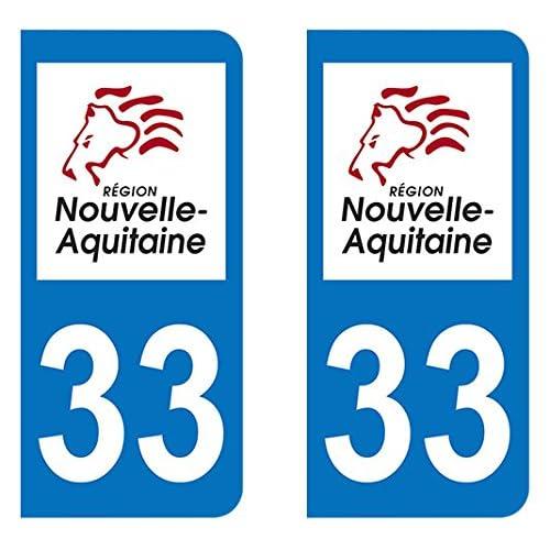 Paire Sticker immatriculation 33 - Nouvelle Aquitaine