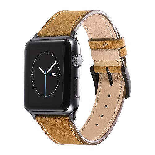 (CHIMAERA Compatible Replacement for 38mm 40mm 42mm 44mm Apple Watch Band Leather Strap Series 4/3/2/1 Sports Edition)