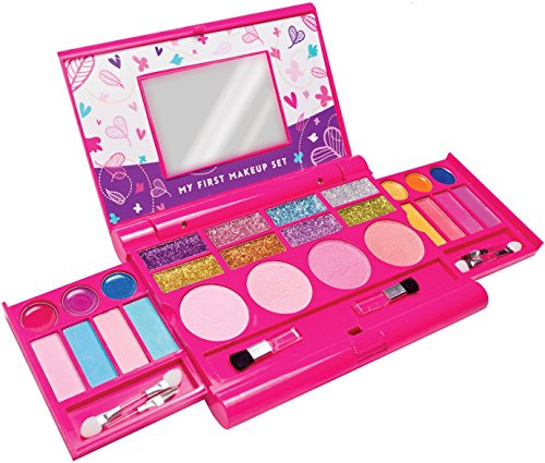 My First Makeup Set, Girls Makeup Kit, Fold Out Makeup Palette with Mirror and Secure Close - SAFETY TESTED- NON TOXIC - 5 Different Fragrance