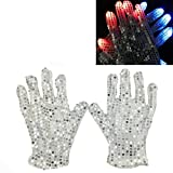 cool costume for kids - LED Glow Blink Clothing Accessories - Luwint Lights Up Costume Show Prop Toy for Boys Girls Birthday Party (White Silver Sequin Gloves)