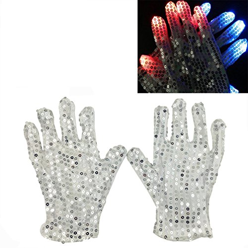 Luwint LED Colorful Flashing Finger Lighting Gloves - White Silver Sequin Dress...