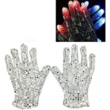 LED Glow Blink Clothing Accessories - Luwint Lights Up Costume Show Prop Toy for Boys Girls Birthday Party (White Silver Sequin Gloves)