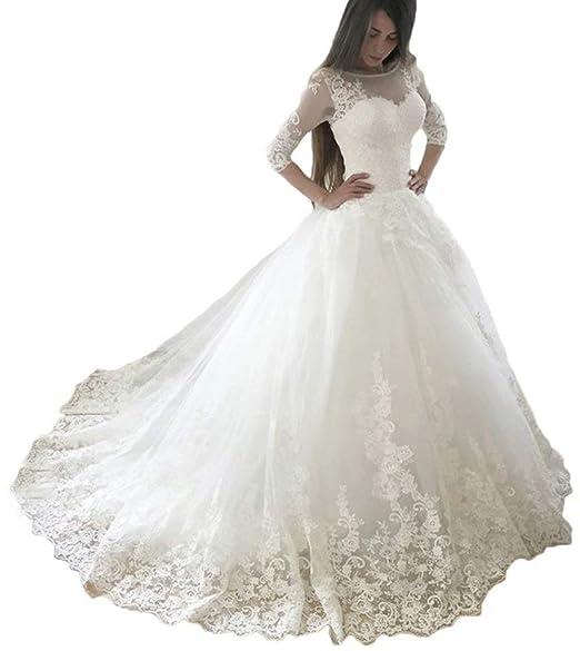 Amazon.com: Vestido de boda de encaje para mujer, manga 3/4 ...