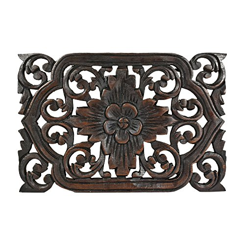 AeraVida Thai Daisy Floral Hand Carved Teak Wood Wall Art 12