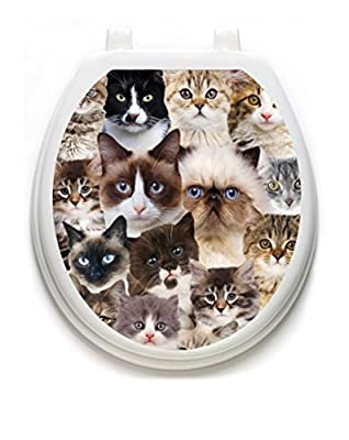 Toilet Tattoos, Toilet Seat Cover Decal, Cats Galore, Size Round/standard