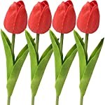 WEEGCN-4-Bundle-Artificial-Fake-Flowers-Plastic-Greenery-Outdoor-UV-Resistant-Floral-Shrubs-Faux-Tulip-Flower-Plastic-Bouquet-Bushes-Plant-for-Wedding-Home-Party-Balcony-Yard-Decoration-Red