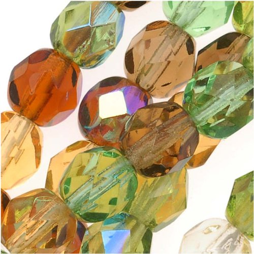 Czech Fire Polish Glass Beads 6mm Round Earthtones Green Brown Amber Mix (50 (Green Amber Beads)