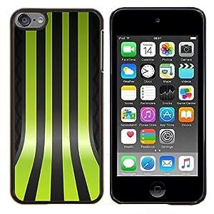 KLONGSHOP // Cubierta de piel con cierre a presión Shell trasero duro de goma Protección Caso - Líneas Verdes - Apple iPod Touch 6 6th Touch6 //