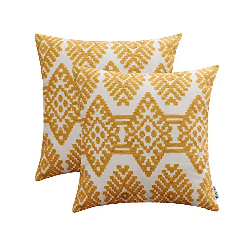 (HWY 50 Yellow Embroidered Decorative Throw Pillows Covers Set Cushion Cases for Couch Sofa Living Room 18x18 inch Modern Farmhouse Geometric Rhombus Pack of 2)