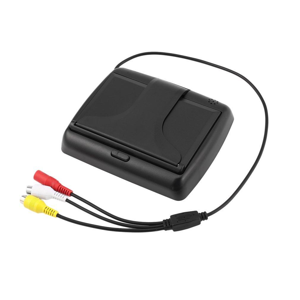 12V 4,3 Pulgadas HD LCD Digital Plegable de sobremesa Monitor Universal C/ámara Que invierte la Pantalla de Vista Posterior con 2 Puertos de Entrada de Video