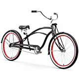 Firmstrong Urban Man Deluxe Single Speed Stretch Beach Cruiser Bicycle, 26-Inch, Matte Black/ Red Rim