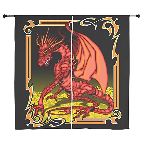 60 Inch Curtain Curtains Red Dragon Gold Tapestry