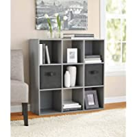 Mainstays 9 Cube Organizer, Multiple Colors | 9-compartment storage cube, Gray Finish (Gray)