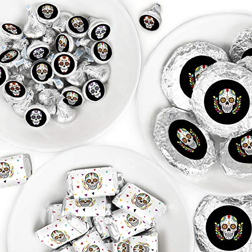 Day Of The Dead - Mini Candy Bar Wrappers, Round Candy Stickers and Circle Stickers - Halloween Sugar Skull Party Candy Favor Sticker Kit - 304 Pieces]()
