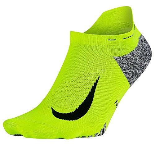 Nike Nikegrip Elite Lightweight No Show Tab Running Socks, Volt/Black, (Mens 6-7.5, Womens 7.5-9) (Show Socks No Tab Women Nike)