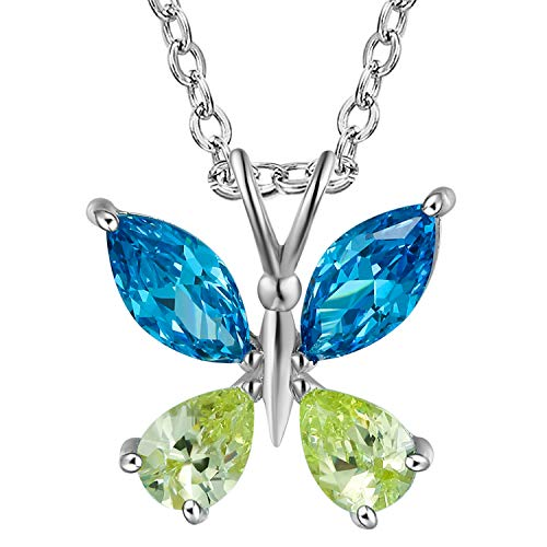 GuqiGuli White Gold Plated Created Blue Topaz and Peridot Butterfly Pendant Necklace, 18''