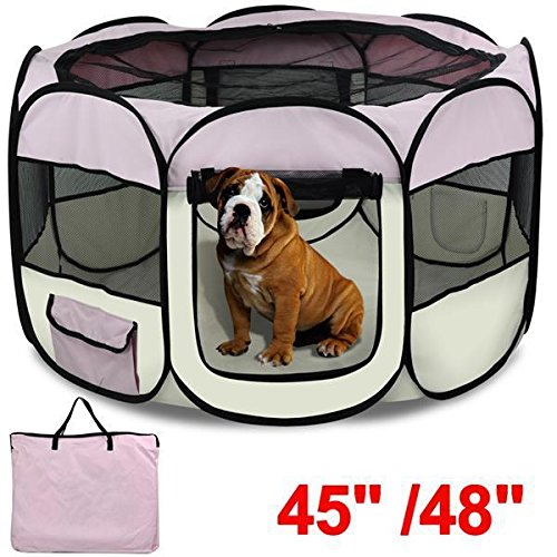 Yaheetech Folding Pet Puppy Dog Playpen Exercise Pen Kennel 600d Oxford Cloth-45