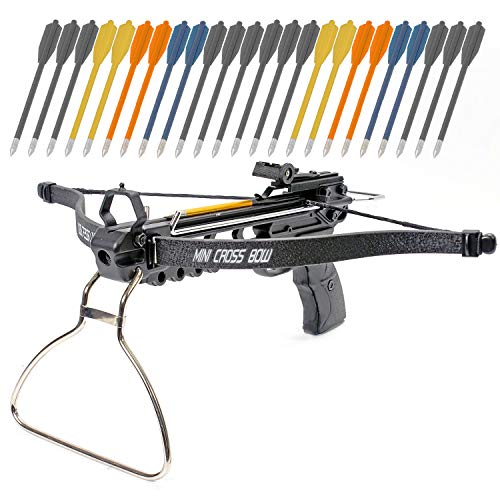 KingsArchery Crossbow Pistol with Bolt Rack Self-Cocking 80 LBS with Adjustable Sights, 3 Aluminium Arrow Bolts, and Bonus 24-Pack of Colored PVC Arrow Bolts Warranty