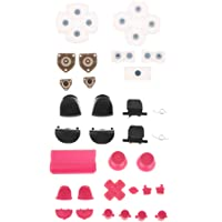 Baosity Pink Buttons Mod Pad Thumbstick Full Set + Black R1 R2 L1 L2 Triggers + Conductive Rubber Pad for PS4 Controller