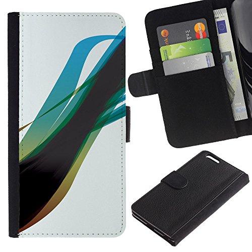 Funny Phone Case // Cuir Portefeuille Housse de protection Étui Leather Wallet Protective Case pour Apple Iphone 6 PLUS 5.5 /Blue Swirl/