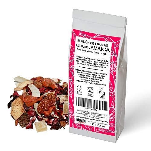 Quality Roasters Coffees Infusion de frutas Agua de Jamaica Mezcla Sabor a kiwi Mandarina, coco, te blanco Anji Tomar frio o caliente 100 gramos