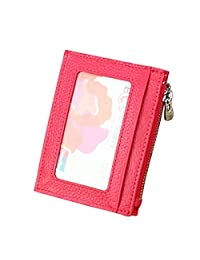 MuLier Genuine Leather Zipper Coins Pocket Front ID Window RFID Blocking Credit Card